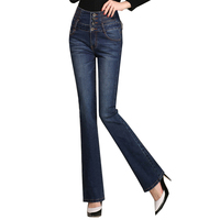{Guoran} Plus size 26 33 skinny women flared jeans pants white blue denim jeans trousers with high waist jeans feminino 2017