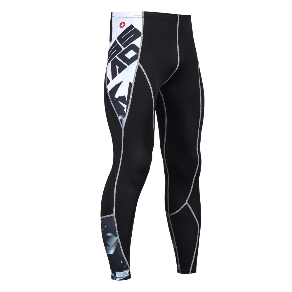 Fitness Compression Tights Pants Men 3D Printed MMA Crossfit Muscle Leggings Base Layer Skinny Pants Male Bodybuilding Trousers