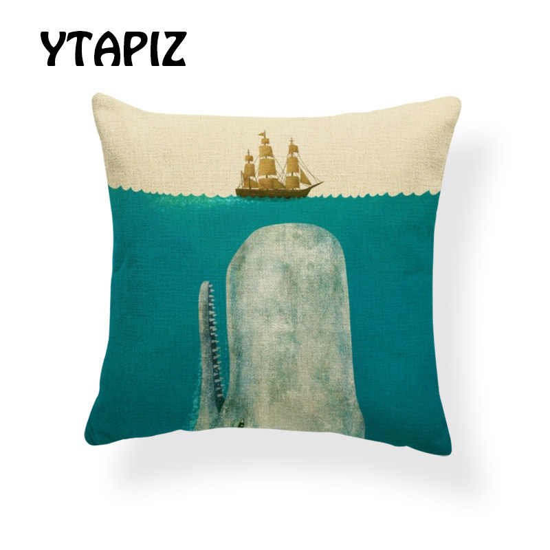 Персонализированные океан КИТ Набор подушек лодка бутылка Луна Звезда облако синяя шапка в форме птицы геометрическое украшение фермерский дом диван наволочка