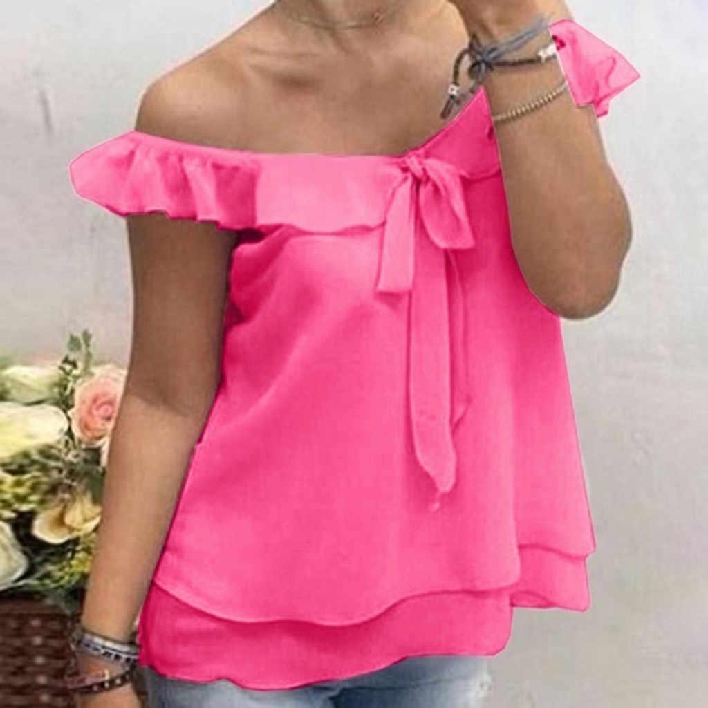 女性のカジュアル固体紫、ピンク、黄色ルースシフォンブラウス夏オフィスボウネクタイシャツトップ夏の女性 Blusas カミーサブラウス