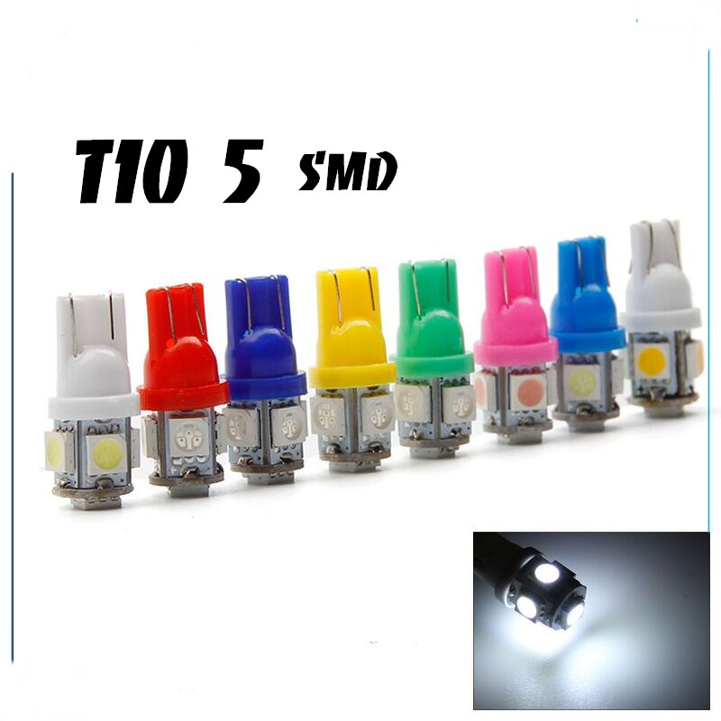 1pcs T10 LED W5W 5050 5 SMD 194 168 LED white/blue/red/green/yellow Wedge Interior Side Dashboard License Light Lamp Car Styling moonbiffy hot 10pcs car interior light t10 wedge 5 smd 5050 xenon led light bulbs 192 168 194 w5w 2825 158 white