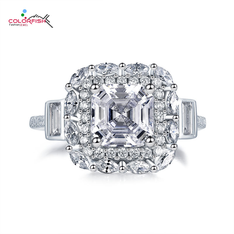 COLORFISH Fancy 2ct Asscher Halo Engagement Ring 925 Sterling Silver Luxury Women Jewelry Sona Synthetic Marquise