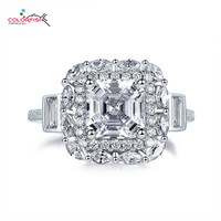 COLORFISH Fancy 2ct Asscher Halo Engagement Ring 925 Sterling Silver Luxury Women Jewelry Sona Synthetic Marquise Promise Rings