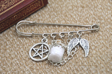 12pcs Supernatural inspired protection themed charm with chain kilt pin brooch 50mm