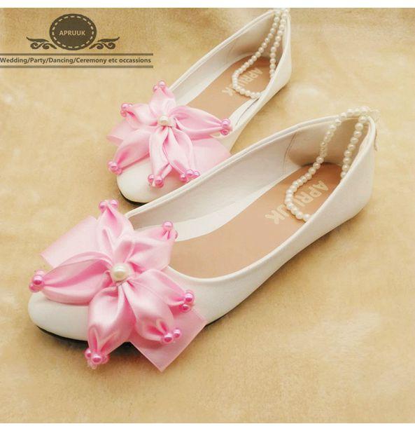Blanc Filles Proms Bretelles Parti Femme Satin Rose Cheville Chaussures Perles Élastique Dames Appartements Fleur Dîner Robe ppwqY8P