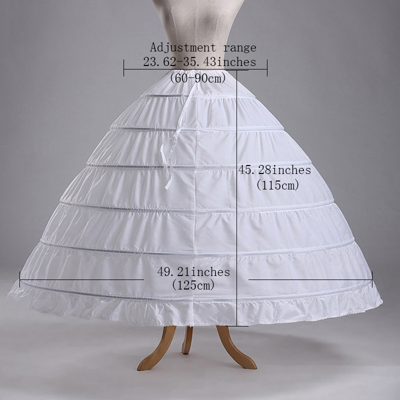 2017 High Quality Cheap White 6 Hoops Petticoats Plus Size Organza For Ball Gown Wedding Dresses Crinoline Underskirt In Stock