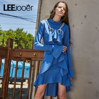 LEEJOOER Brands Designs Autumn Winter Dress Women Fashion Ruffles Blue Dress Sexy Party Club Wear High