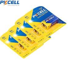 4 шт., батарея PKCELL 9 В 6F22 6F22R 1BP, 9 вольт, цинковая, углеродная батарея для термометра, электрических игрушек