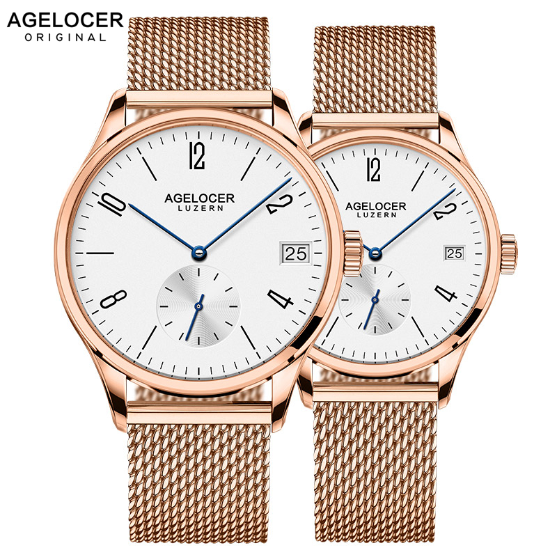 Agelocer Switzerland brand Casual lovers watches couple 2 pieces stainless steel Men Women Couple Wrist watches with watch boxAgelocer Switzerland brand Casual lovers watches couple 2 pieces stainless steel Men Women Couple Wrist watches with watch box