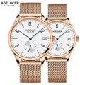 Agelocer szwajcaria marka przypadkowi miłośnicy zegarki para 2 sztuk ze stali nierdzewnej mężczyzna kobiet para zegarki z pudełko zegarek w Zegarki dla zakochanych od Zegarki na