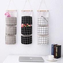 Клетчатая Задняя сумка для хранения, подвесная карманная сумка для хранения, складная подвесная настенная сумка для общежития, 2019