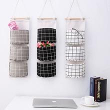2019 Plaid  Rear Storage Bag Hanging Pocket Storage Bag Foldable Hang Wall Dormitory Hanging Storage Organizador