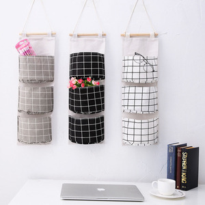 Image 1 - 2019 Plaid  Rear Storage Bag Hanging Pocket Storage Bag Foldable Hang Wall Dormitory Hanging Storage Organizador