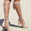 Nude Pink Suede Leather Women Boots Summer Style Shoes Gladiator Boots Women High Heel Stilettos Open Toe Lace Up Wrapped Boots