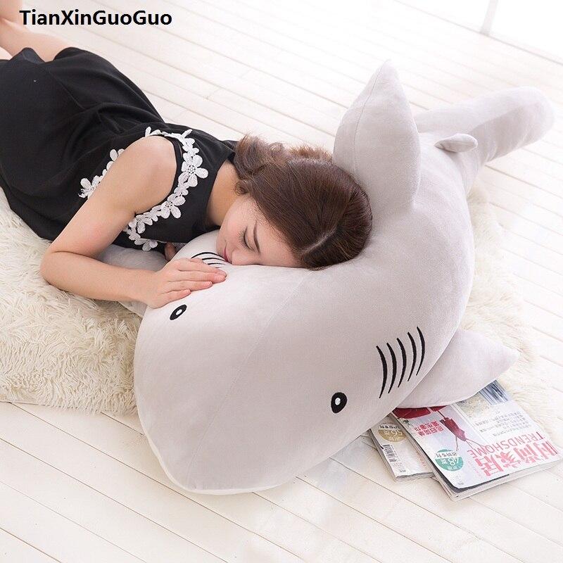 Peluche bas coton requin très doux poupée grand 80 cm mignon gris requin en peluche jouet jeter oreiller cadeau d'anniversaire s0545