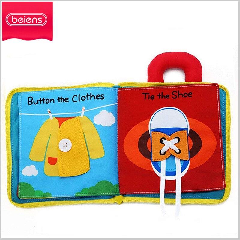 Beiens Baby Tuch Bücher Infant Spielzeug 12 seiten Weichen Tuch Jungen Mädchen Bücher Pädagogisches Rassel Spielzeug Für Neugeborene Baby 0 -12 monat