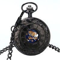 Vintage Mechanical Roman Number Half Hunter Pocket Watch Men Steampunk Stainless Steel Men S Pendant Chain