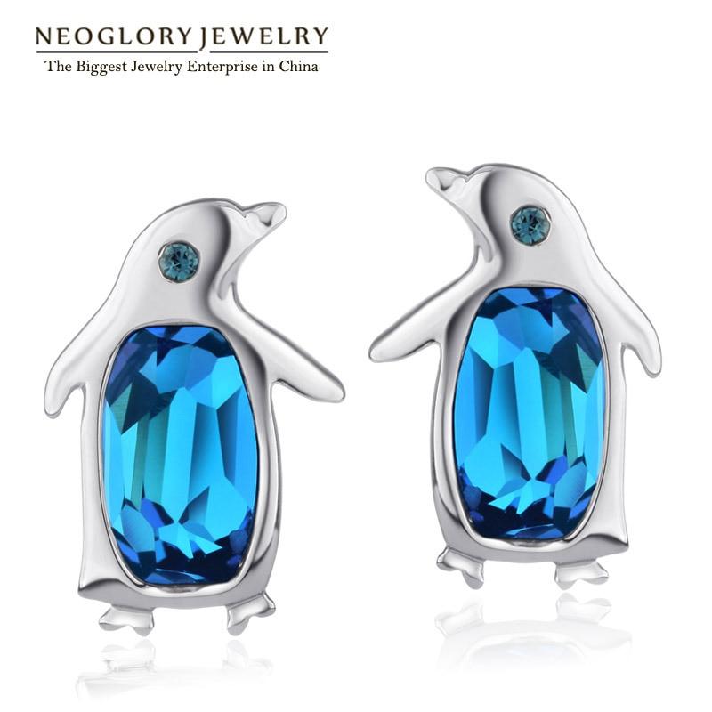 Neoglory, австрийские кристаллы и стразы, милые пингвины, серьги-гвоздики для женщин, для девочек-подростков, Модный Ювелирный камень, подарок, новинка - Окраска металла: Blue