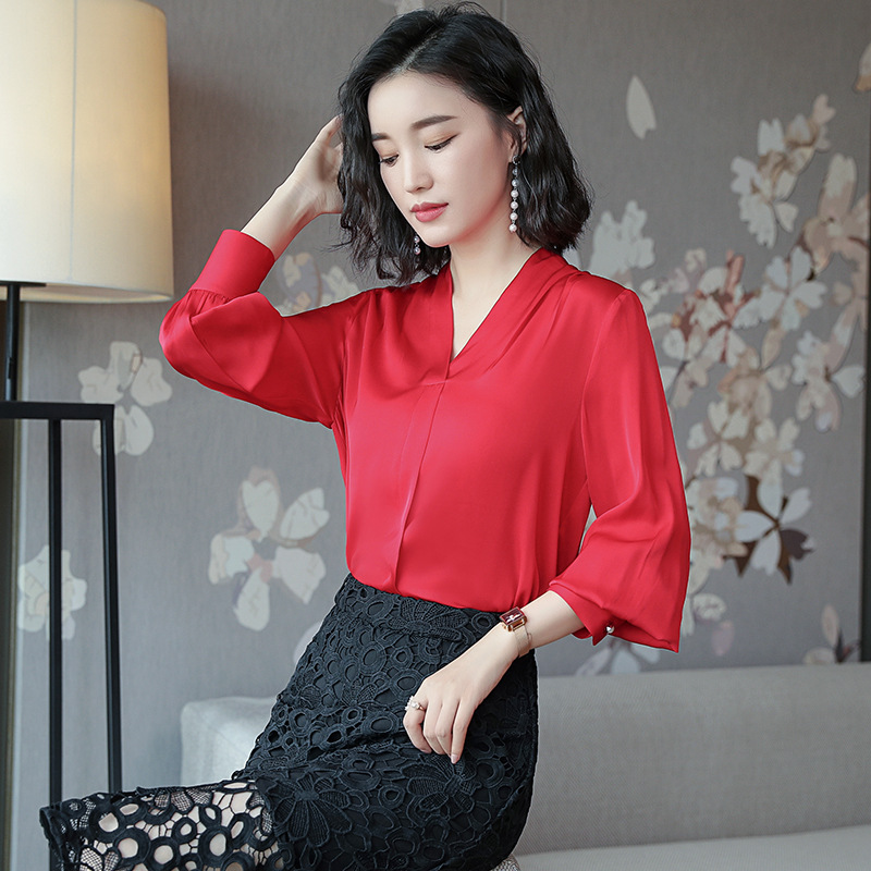 Women Natural Silk Shirts Knitted Full Sleeve OL Blouses Large Female Shirts Comfortable Breathable V neck