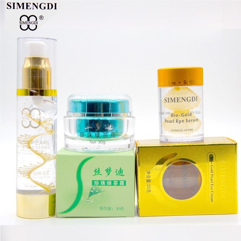 Crème à thé vert perle + Peptide perle essence argicable + sérum pour les yeux perle or Bio ensemble de soins de la peau perle