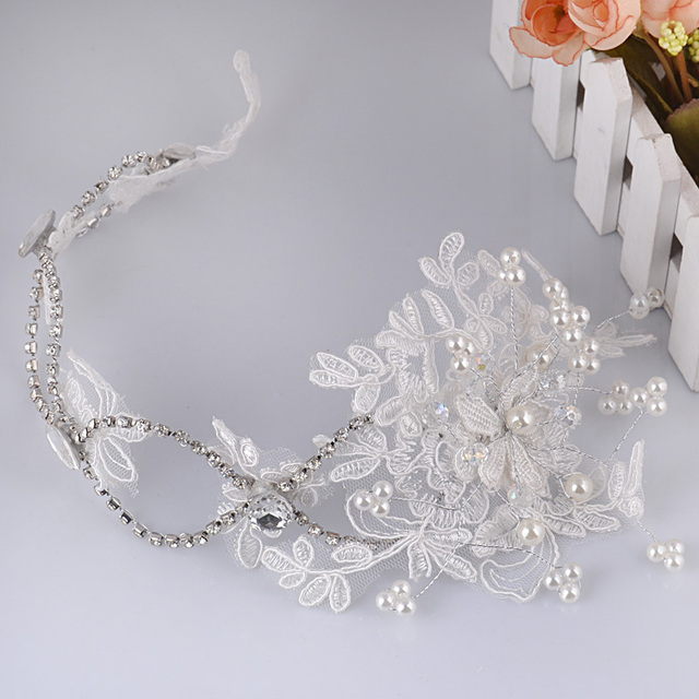 Estilo coreano hecho a mano larga de Encaje tocado de cristal corona nupcial pelo de la boda accesorios hairband