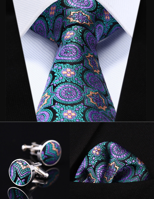 """Party Wedding Classic Pocket Square Tie TZF01G8 Purple Green Floral 3.4"""" Silk Men Tie Necktie Handkerchief Cufflinks Set"""