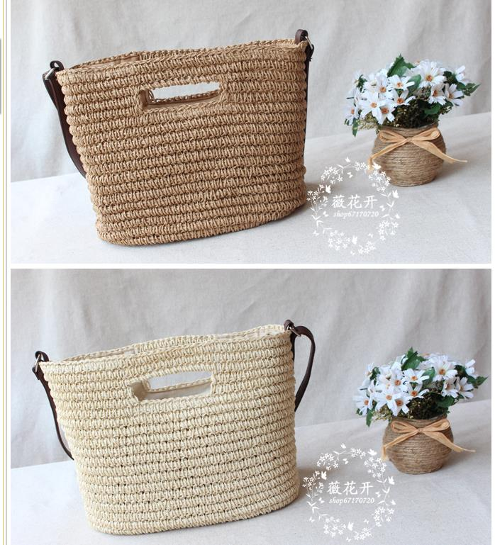 Women's Bags Shoulder Bags Dashing 34x28cm Straw Bag Beach Woven Bag 2017 New Shoulder Messenger Handbag Holiday A4138