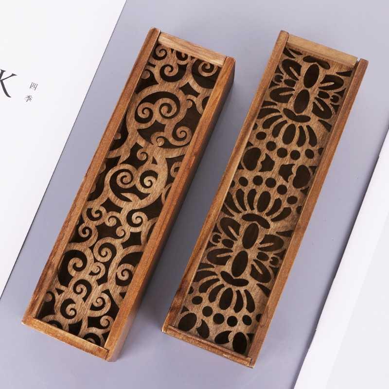 صندوق أدوات مكتبية خشبي عتيق يصلح لتخزين أدوات سطح المكتب