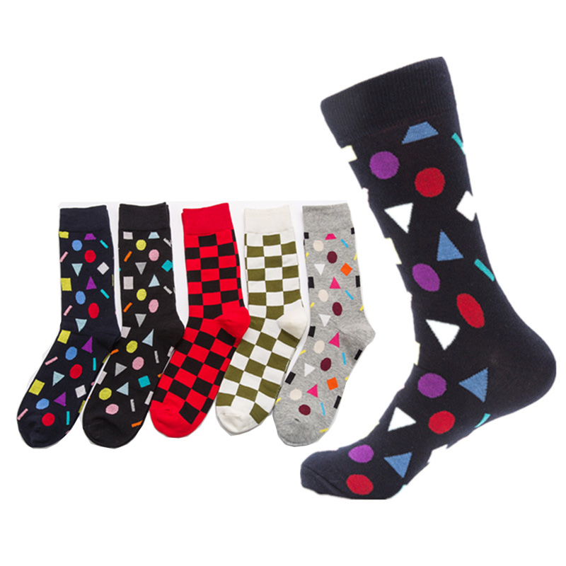 2018 Fashion Geometry Unique Personality Men Socks 5 Pairs Happy Cotton Socks For Men Colorful Dress Socks