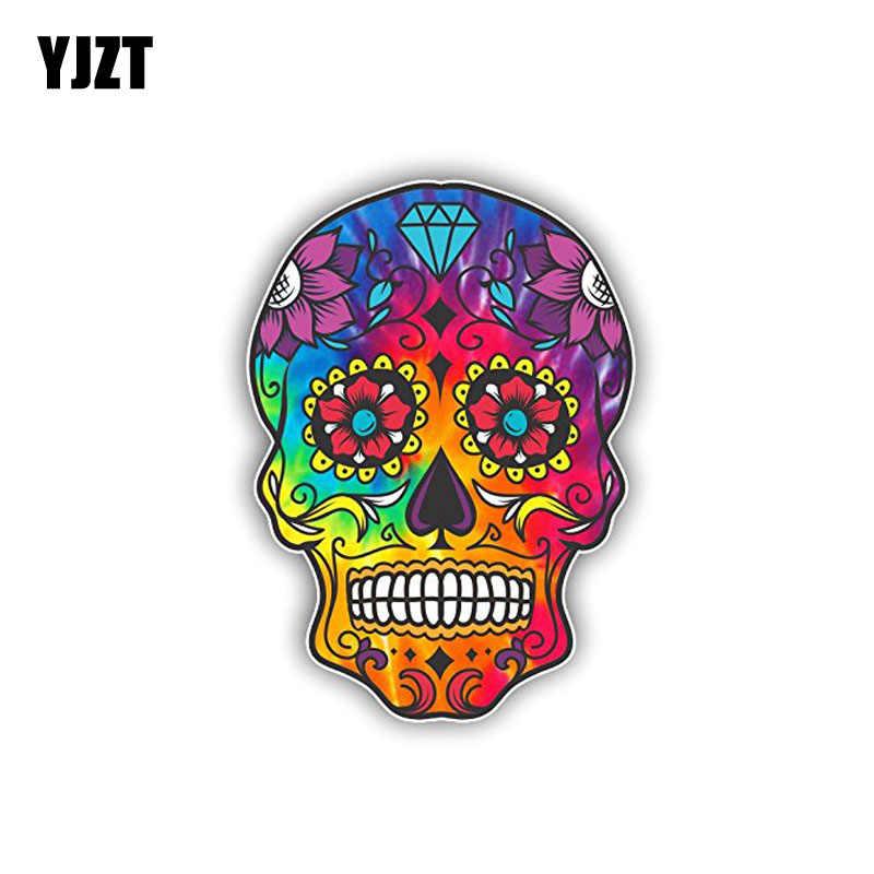 YJZT 8,7 см * 12,2 см сахара аксессуары в форме черепа забавные наклейка на машину, мотоцикл наклейка ПВХ 6-0140