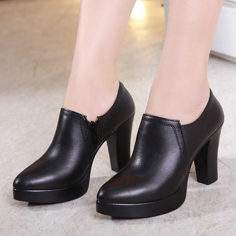 Pumps Office Shoe Platform-Shoes Heel Plus-Size Genuine-Leather Woman Fall 32-43-Block