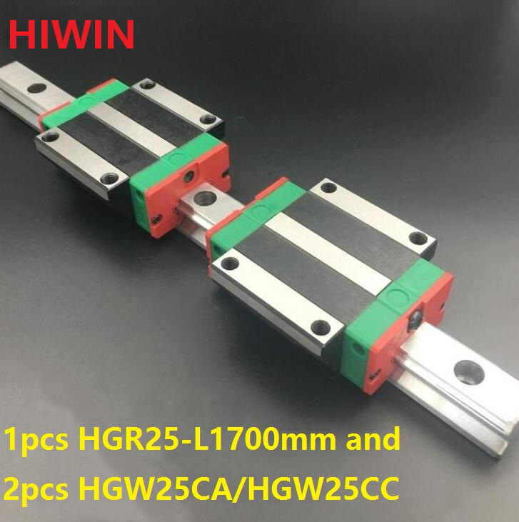 1pcs 100% original Hiwin linear guide rail HGR25 -L 1700mm + 2pcs HGW25CA HGW25CC flange block carriage for cnc router бордюр europa ceramica versalles cen elise 5х50