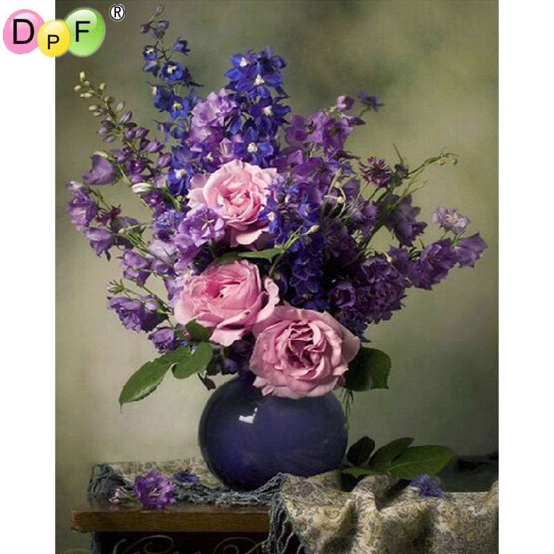New Purple flower 3D diy diamond painting embroidery pasted square drill home decor Mosaic diamond pattern cross stitch pictures