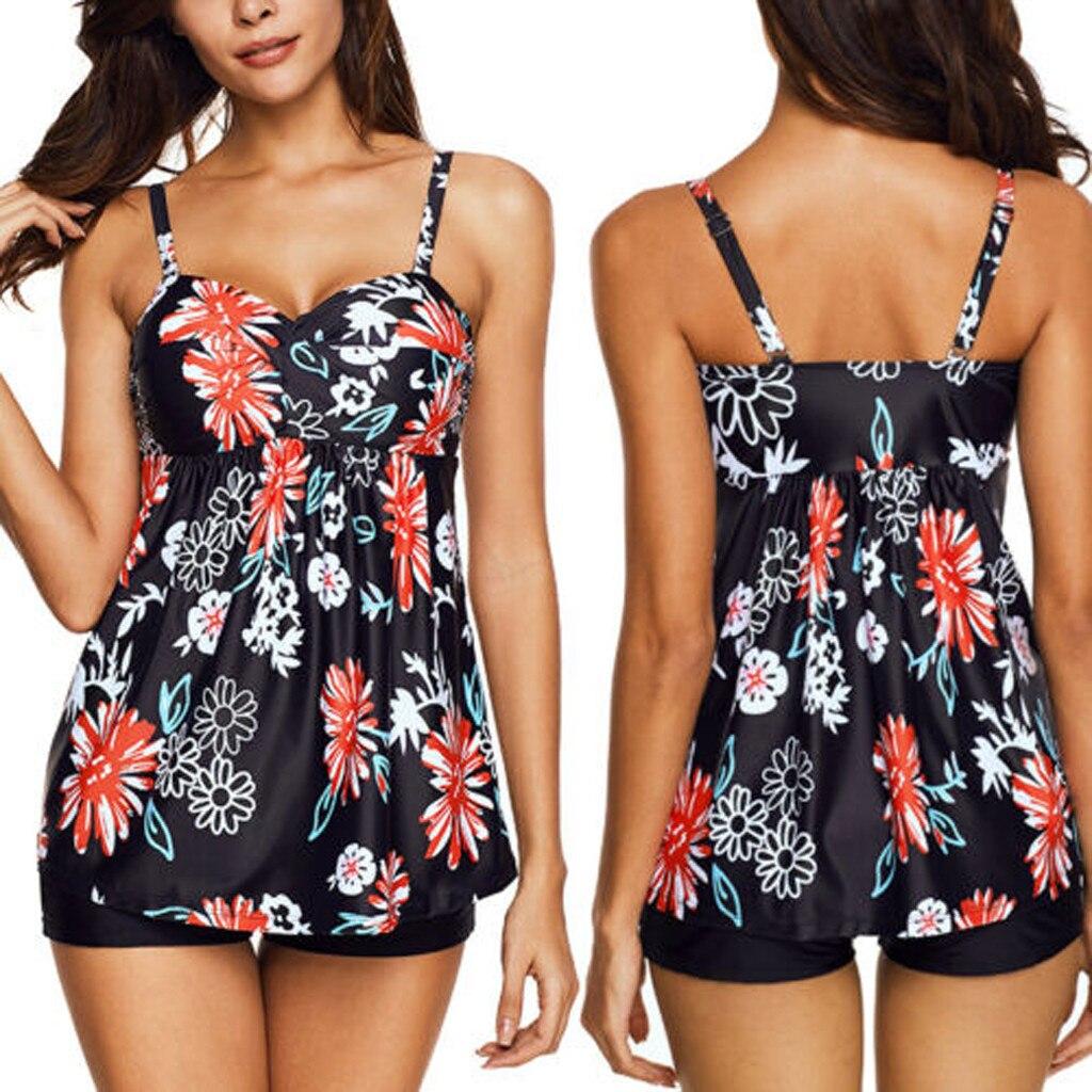 Maillot De Bain Femme 2019 Deux Piece Summer Women Plus Size Print Tankini Swimjupmsuit Swimsuit Beachwear Padded Swimwear