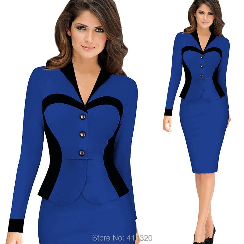 Womens Elegant Business Suits Blazer with Skirt Formal Office Uniform Designs Women Lapel Colorblock Knee Length Pencil Dress (19)