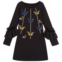 Long Sleeve Girl Dress Cute Butterfly Bee Black Dresses for Girls Autumn Spring Ruffles Kids Clothes 3-12 Years недорого