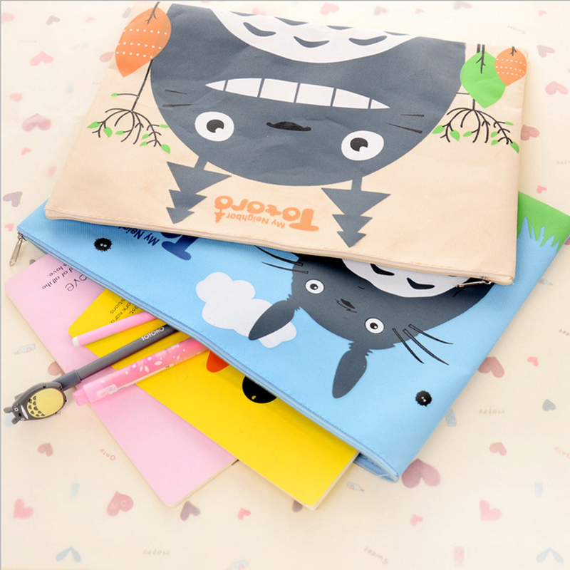 Oxford Cloth Zipper Office Stationery Bag Cute Chinchillas A4 File Bag Filing Products Document Bag