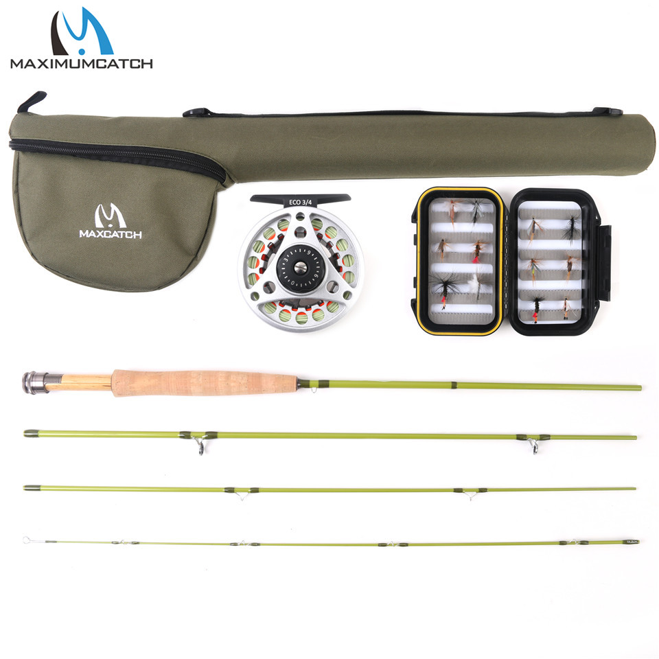 Maximumcatch Ultra Light Fly Fishing Rod Combo with ECO Fly Reel and fly Lines box 2/3 3/4 Kit maximumcatch slim fly box silicone insert 100