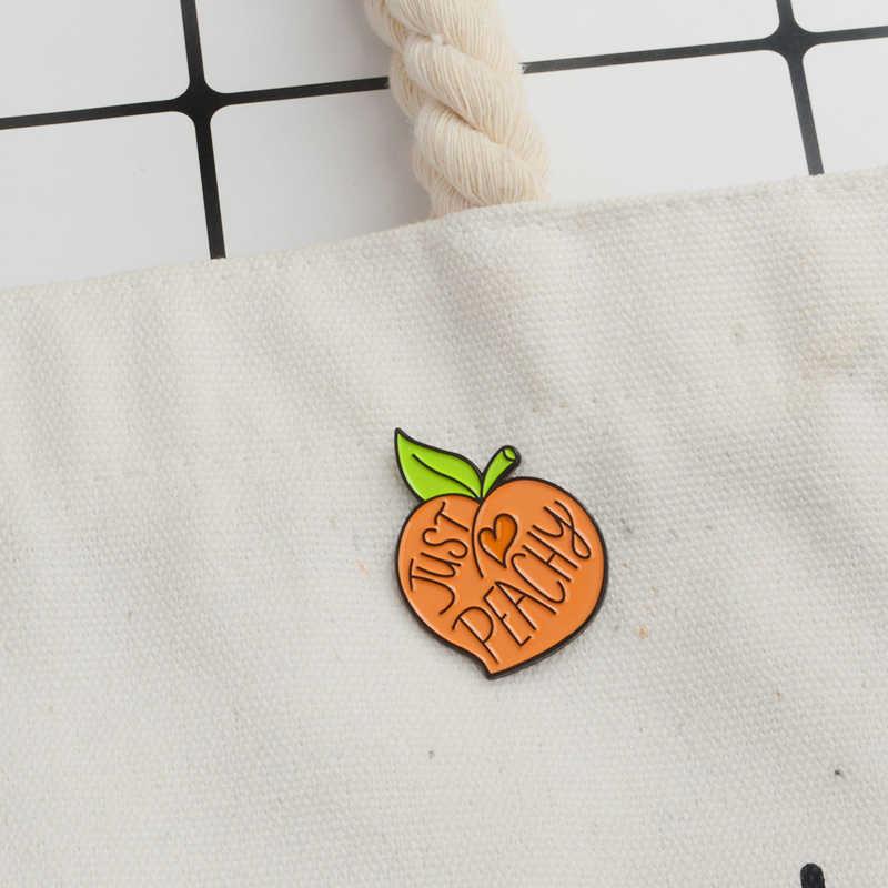 Просто персиковая эмалированная брошь фруктовый персик джинсовая одежда Кепка сумка значок на лацкан значок мультфильм украшения с растительным узором подарок для друзей