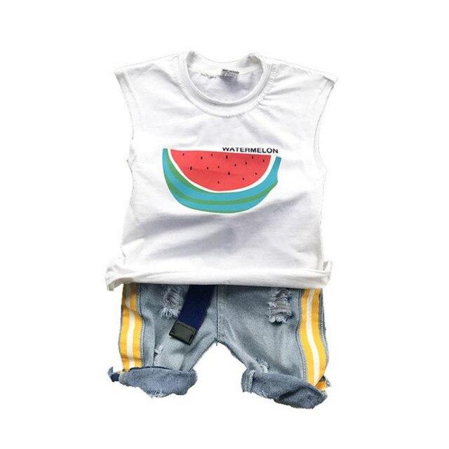 9270a2e68558 DFXD Baby Boy Clothing Set 2018 Summer Fashion Sleeveless Cartoon Watermelon  Print Vest Shirt+Jeans Pants 2pc Kids Set 2-8Y