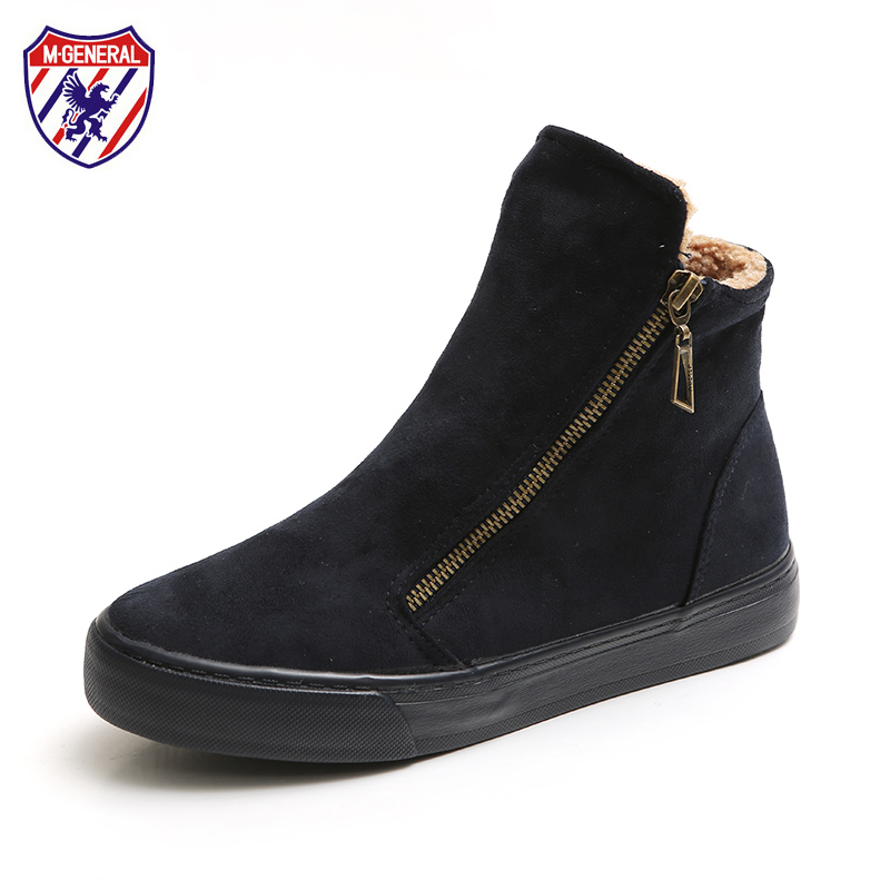 M.GENERAL Women Winter Boots Suede Leather Solid Color Side Zippers Fur Lined Female Botas Mujer Black Red Brown Blue Size 35-40 suede
