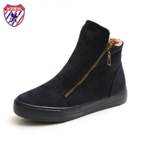 M GENERAL Women Winter Boots Suede Leather Solid Color Side Zippers Fur Lined Female Botas Mujer