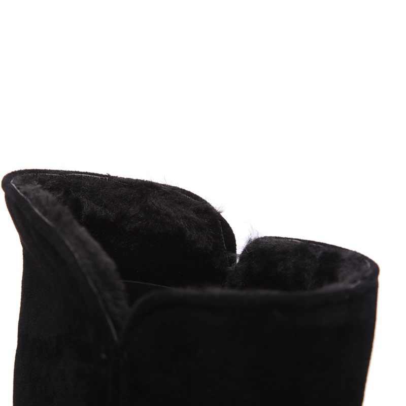 EGONERY kadın ayakkabı kar botları kadın basit tarzı yuvarlak ayak düşük topuk sıcak ayakkabı kış kalın peluş iç bayanlar orta buzağı çizmeler