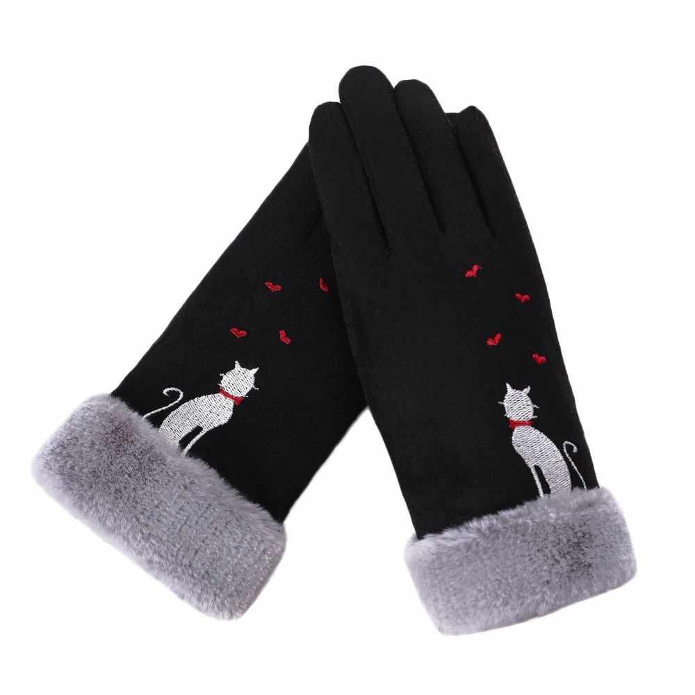 Moda feminina luvas de inverno gato amor coração luvas bordado manter quente luvas de inverno completo feminino chapéu dedo luvas femininas