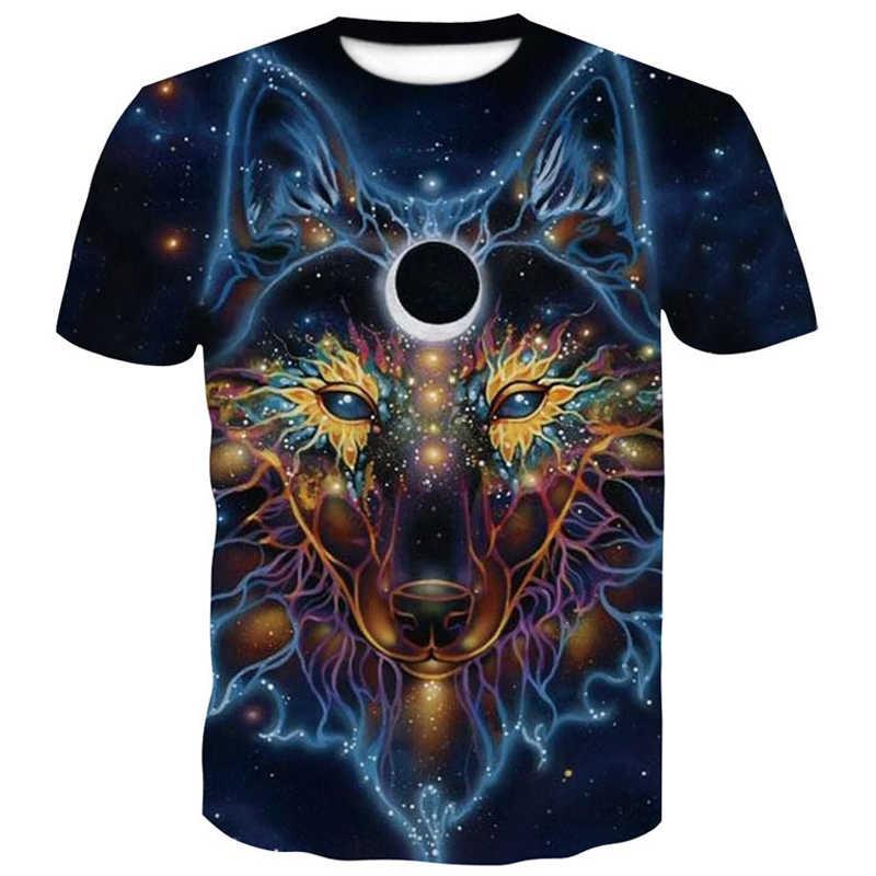 Wolf 3D Мужская футболка лето 2019 Новая мужская брендовая одежда с коротким рукавом одна штука забавные мужские футболки больших размеров топ с принтом