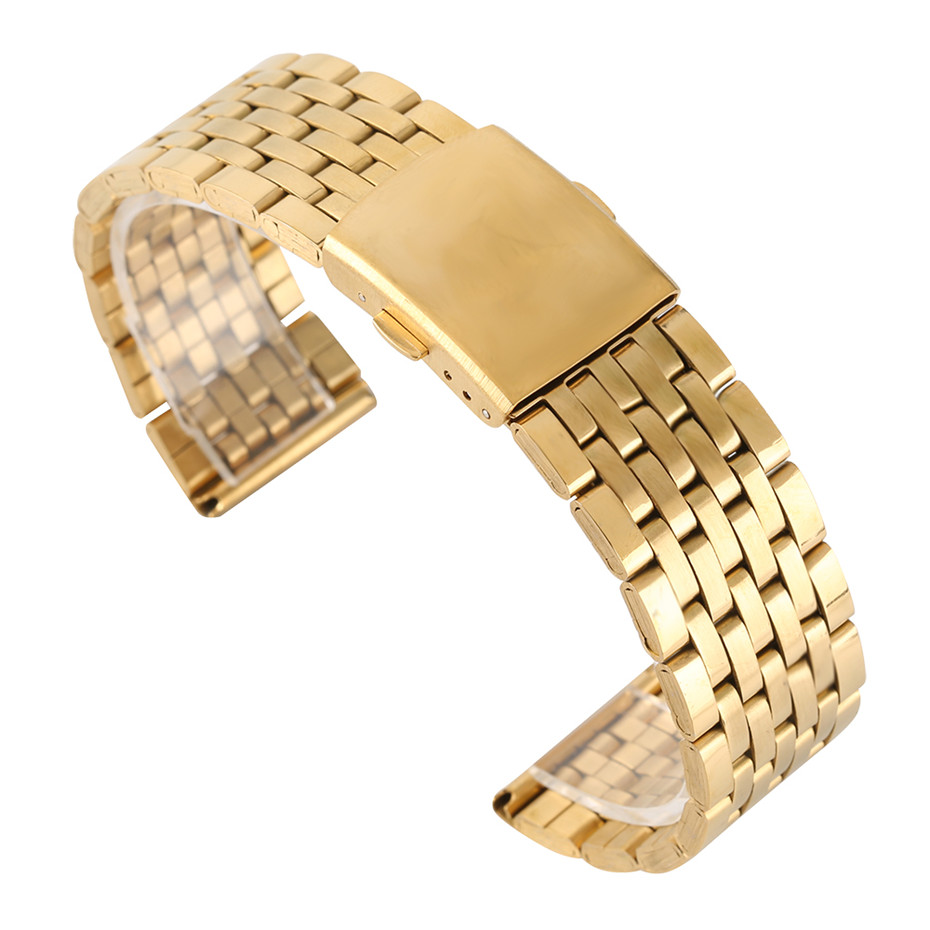 Gold 18/20/22mm Hollow Stainless Steel Watch Strap Folding Clasp with Safety Band for Men Women Watches Replacement Bracelet 18 20 22mm mesh stainless steel watch band black silver rose gold strap hook buckle men watches replacement bracelet for huiwei