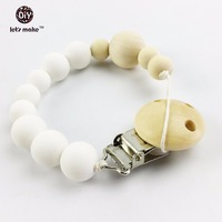 Organic Slicone Teething Pendant 1pc Natural Wooden Beads Montessori Toys Baby Shower Gifts Dummy Pacifier Clip