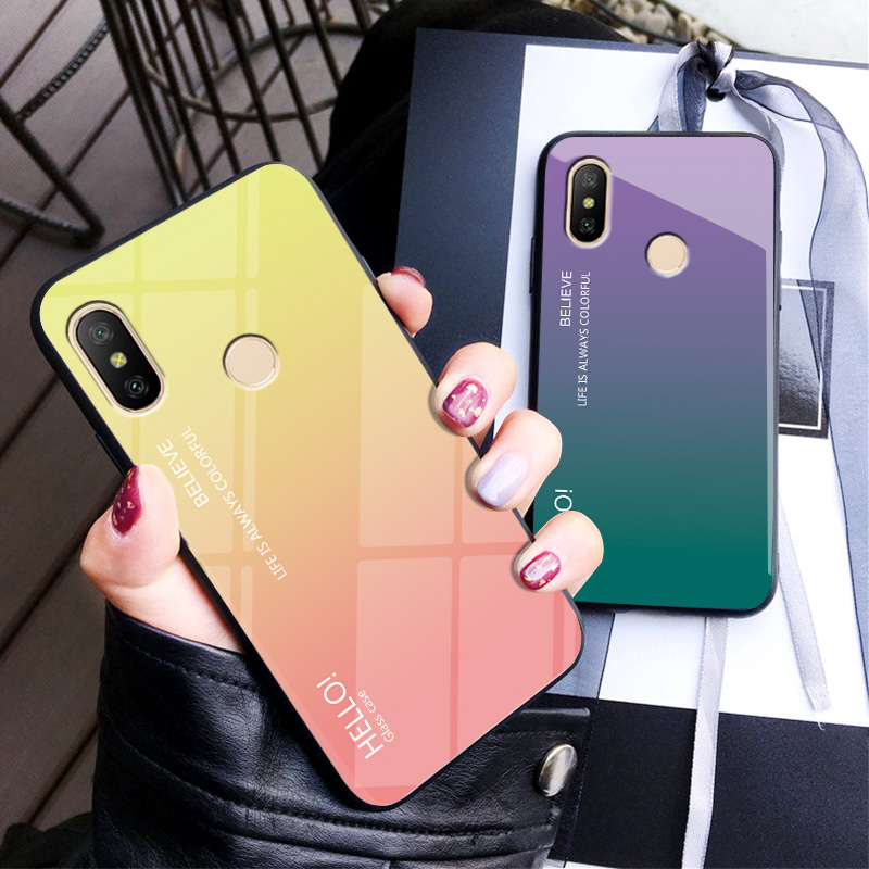 For <font><b>Xiaomi</b></font> <font><b>Mi</b></font> <font><b>A2</b></font> Case Fashion Hard Toughened glass Gradient Protective Back Cover case For <font><b>xiaomi</b></font> <font><b>mi</b></font> <font><b>a2</b></font> <font><b>MiA2</b></font> phone shell image