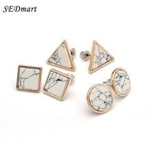SEDmart Brand Design Triangle Round Square Shape White Marbled Howlite Stud Earrings Women Gold Color Wedding Earring
