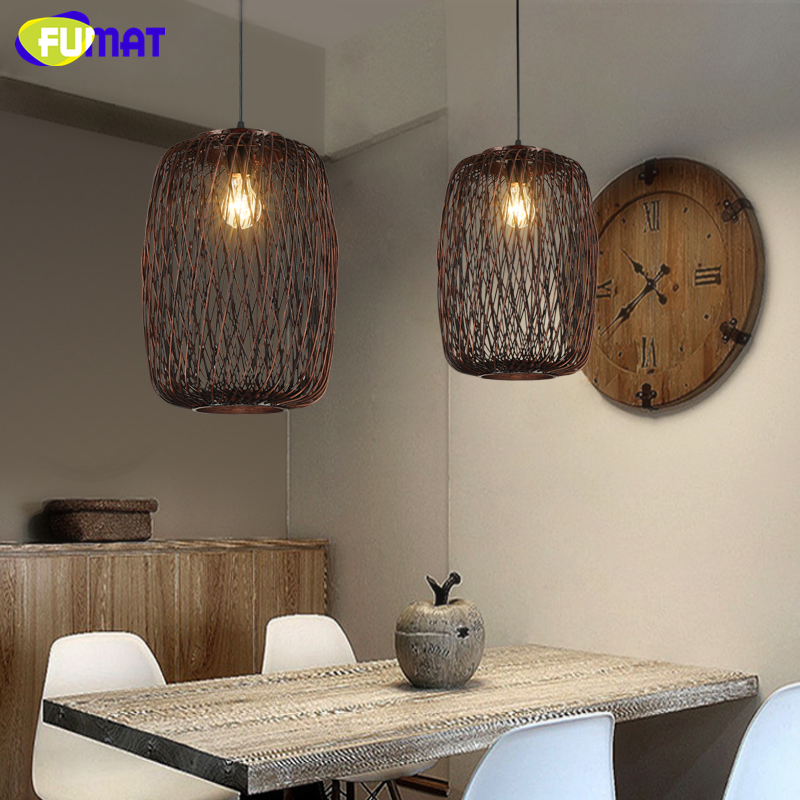 loft rattan pendant lamp north european vintage craft weave bird cage suspension lamp bar. Black Bedroom Furniture Sets. Home Design Ideas